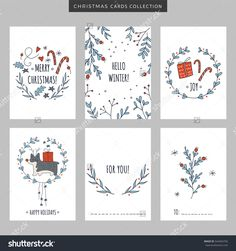 Set of Christmas and New Year holiday greeting cards. Set of Christmas and New Year holiday greeting cards. Hand drawn vector illustration for winter pos cards christmas drawn greeting Hand holiday illustra Set vector win Diy Christmas Cards, Holiday Greeting Cards, Christmas Snowflakes, Xmas Cards, Diy Cards, Christmas Crafts, Christmas Cookies, Christmas Ideas, New Year Holidays