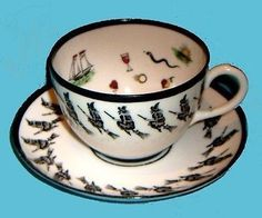 The rarest and most sought after fortune telling teacup set in the world! The PETERSYN CO. Made of fine bone chine in the The teacu. Reading Tea Leaves, Tea Reading, Vintage Cups, Vintage Tea, Cup And Saucer Set, Tea Cup Saucer, Teapots And Cups, Teacups, Halloween Kitchen