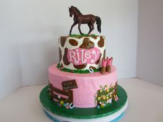 Cowgirl Birthday Cake - BC icing with fondant decorations. The horse is a toy that matches the birthday girl's new horse.