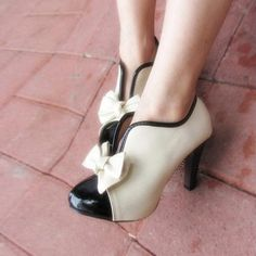 Lovely Ladies Bowtie Color Splicing Bootie Pumps PU Round Toe Ankle Shoes High Chunky Heels by bluelansfashion
