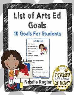 List of Arts Ed Goals #editableprintables #freeprintables
