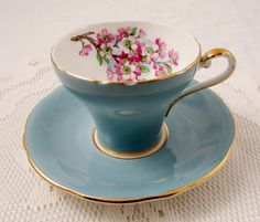 Aynsley Blue Corset Tea Cup and Saucer with Cherry Blossom Branch, Vintage Tea Cup, English Bone China