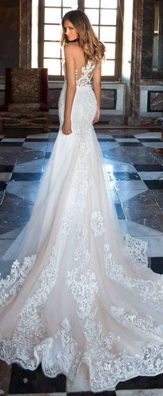 Amazing Tulle Jewel Neckline See-through Bodice Mermaid Wedding Dress With Lace Appliques