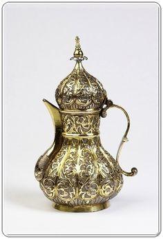Bakır ve gümüş 'Osmanlı barok' tarzı Cezve