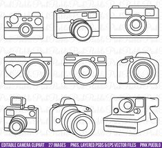 Camera Clipart Clip Art Photography Logo Elements por PinkPueblo