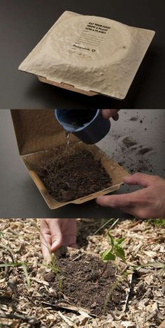 """Takeout Box. """"Eat your food, grow a plant, save a planet""""  #sustainable #design #smart #idea"""