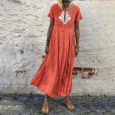 2019 Summer V-Neck Floral Print Dress Women Short Sleeve Vintage Maxi Dresses Plus Size Casual Beach Dress Vestido Maxi Dress Summer, Summer Dresses Sale, Maxi Dress With Sleeves, The Dress, Short Sleeve Dresses, Long Dresses, Dress Tops, Sleeved Dress, Dresses Dresses