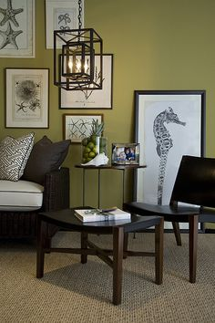 Like the color and the neutral rug for a faux sitting room Robert Brown Interior Design. (Black and white illustrations -C)