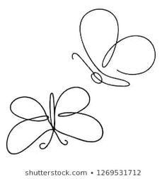 Continuous line art or One Line Drawing of Beautiful butterfly, simple, cute, vector illustration Butterfly Line Drawing, Simple Flower Drawing, Butterfly Sketch, Butterfly Illustration, Butterfly Art, Flower Drawings, Tatoo Simple, Simple Butterfly Tattoo, Doodle Images