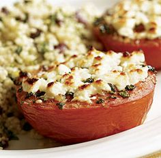 Broiled Tomatoes with Feta & Herbed Couscous Recipe