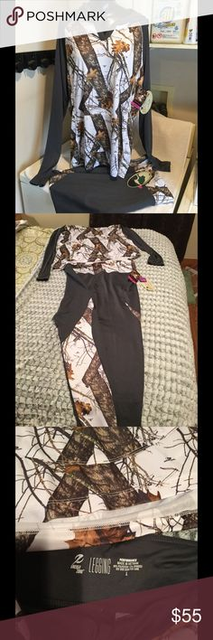 Nwt 2 piece outfit by Energy Zone, and Mossy Oak! New, semi fitted energy zone top with hood, size XL top. Grey leggings with camo white and grey design , pants size large! All camo style, great gym outfit!! More pictures upon request! energy zone and Mossy Oak Other