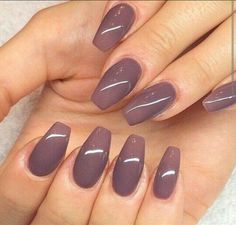 Purple coffin shape nails