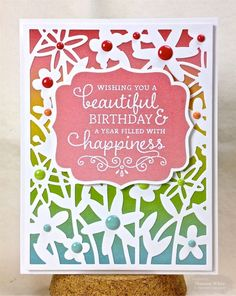 Beautiful Birthday Card by Shannon White #Cardmaking, #CuttingPlates, #Birthday