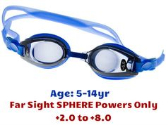 da2ade6a82  5-14 yrs  Kids Prescription Swim Goggles (Premade with Long Far Sighted  +ve powers - Dark Grey Tinted Lenses ) - Blue