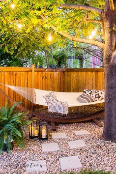 Backyard Hammock, Cozy Backyard, Small Backyard Design, Backyard Patio Designs, Backyard Ideas, Small Backyard Pools, Patio Hammock Ideas, Back Yard Design, Backyard Landscape Design