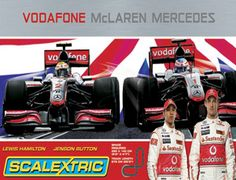 The Scalextric Vodafone McLaren Mercedes Set is themed on the 2010 McLaren F1 team of Lewis Hamilton and his new team mate, Jenson Button!    With this new sport set, for 2010, This set features the Vodafone McLaren Mercedes F1 cars of Lewis Hamilton and his new team-mate, 2009 World Champion, Jenson Button as they go head to head in a high speed chase around an extended figure-of-eight circuit.