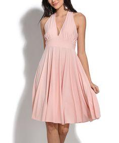 Another great find on #zulily! Pink V-Neck Empire-Waist Dress #zulilyfinds