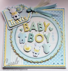 New Baby Card made using Kanban toppers and paper, and Centura Pearl card. Designed by Carole Davis #papercraftbycarole #newbaby #babycard #kanban