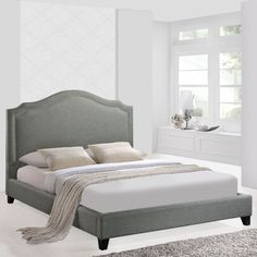 Queen Bed Frame Extra Tall Upholstered Headboard Nailhead Trim Grey Bedroom