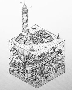 Awesome #isometric #nautical #illustration by Grant Abernethy (@abz_fineart) of a #lighthouse that serves as a destination for a rather fancy yacht. It is unclear whether the lighthouse the final destination or if people are just hoping to load up on that massive submarine hidden beneath the waves. I suppose the lighthouse could be the place that both the yacht and the submarine are seeking to go to but perhaps the yacht seafarers don't know the secrets that lie under the lighthouse... I…