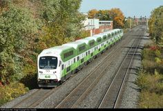 The first consist assembled with all newly painted equipment, including one of the new Bombardier cab cars, approaches Burlington Station on the Lakeshore West route.