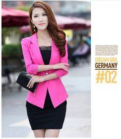 las mujeres coreanas cordón pequeña manga de la chaqueta traje casual chaqueta de otoño para las mujeres