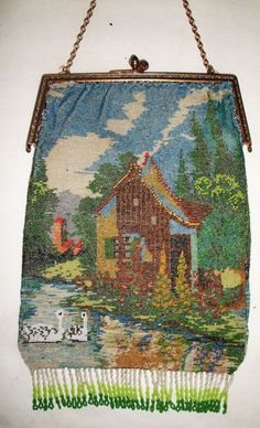 Lovely Vintage Antique Micro Beaded Scenic by badkittyvintage, $625.00