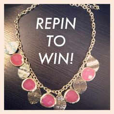 ONE HOUR! 20 REPINS! ONE WINNER! NEED 20 REPINS TO GIVE AWAY THIS CUTE NECKLACE!