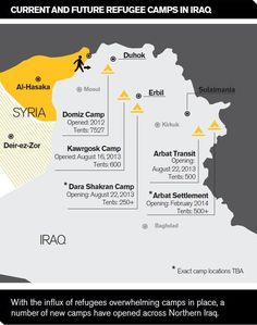 Over 30,000 Syrians have crossed into Iraq since Thursday. The IRC's emergency team is on the ground responding to their urgent needs and already planning their next steps.  Below is a map of camps, present and planned, in Iraq.  More on the IRC's response: http://Rescue.org/Syriacrisis