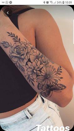 Half Sleeve Tattoos Forearm, Forarm Tattoos, Foot Tattoos, Body Art Tattoos, Female Arm Tattoos, Tatoos, Forearm Flower Tattoo, Tattoos For Women Flowers, Tattoos For Women Half Sleeve