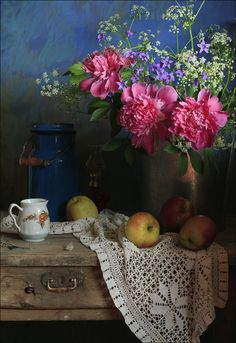 Still life with Peonies  (still life,art photography,pink,peonies,blue,apples,flowers,colorful,beautiful,lacework,art)