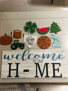 Welcome to our Home with interchangable sign/Seasonal Sign/Farmhouse Sign/Rustic Sign/Home Sign/Sport Sign/Fall Sign/Spring Sign/Summer Sign - This custom Welcome to our Home sign makes decorating for the holidays easy! Our signs are hand pai - Welcome Home Signs, Home Decor Signs, Diy Signs, Wood Crafts, Fun Crafts, Summer Crafts, Make Your Own Sign, Sports Signs, Diy Kit