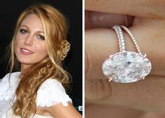 Blake Lively's engagement ring features an oval cut center stone mounted on a diamond band by Lorraine Schwartz.
