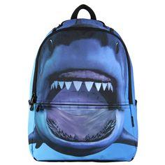 VN Hot Sale 3D Printing Shark Backpacks For Boy Teenagers Canvas Travel Backpack School Rucksack Animal Backpacks Children Bags
