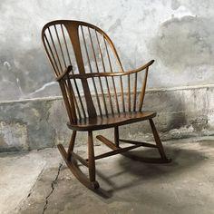 Vintage Rattan Wicker Boho Adult Rocking Chair Rocking