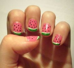 Really fun watermelon nails! Love the way the tips are used as the watermelon skin for a really funky twist on a french :)