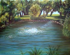 """Colorado Park    This is a little pond that has turtles, herons, beavers and more in it. It's a lovely place to just sit down and reflect. It has all kinds of moss and algae in the water. It's just off one of main roads in town.       Original Artwork Details:  16""""H x 20""""W   FOR SALE"""
