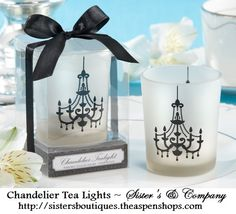 Chandelier Frosted-Glass Tealight Holder (Set of Four) - Wedding Favors Elegant Wedding Favors, Candle Wedding Favors, Candle Favors, Bridal Shower Favors, Wedding Themes, Wedding Gifts, Wedding Decorations, Party Favors, Wedding Ideas