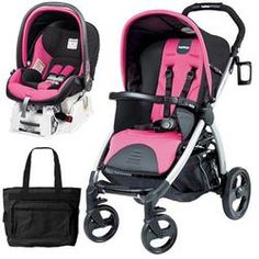 a9e0588c510 pink and black stroller and car seat