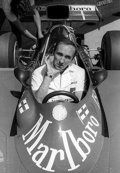 1974 AustrianGP, Frank Williams sitting in the car (Iso Marlboro FW03) bearing…