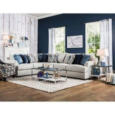 Furniture of America Rosille Contemporary Light Grey Fabric L-Shaped Sectional (Beige) Blue Accent Walls, Accent Walls In Living Room, Living Room Grey, Home Living Room, Living Room Designs, Living Room Furniture, Living Room Decor, Furniture Layout, Fabric Sectional