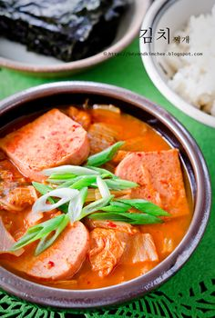 Kimchee Stew II (Kimchee Jjigae) ((Made with kimchi, onion, spam, and chicken stock--that's it. I don't love spam, but that's a super simple dish I'm sure everyone will like. Kimchi Jigae Recipe, Jjigae Recipe, Spam Recipes, Cooking Recipes, Korean Recipes, Cooking Pork, Dishes Recipes, Asian Cooking, Korean Dishes