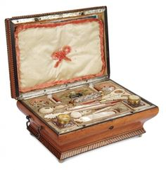FRENCH WOODEN SEWING AND PEN BOX FROM PALAIS ROYAL WITH MOTHER-OF-PEARL TOOLS