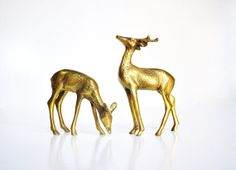 Pair of Vintage Brass Deer by thewhitepepper on Etsy, $26.50