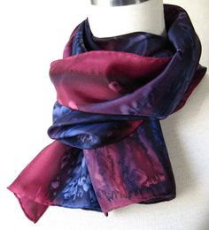 Hand Painted Scarf in Navy and Burgundy by OceanAvenueSilks, $36.00