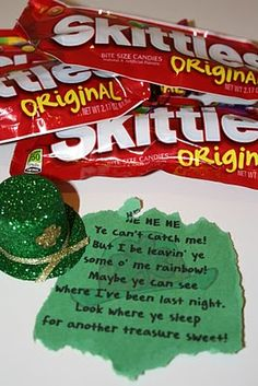 what you find in the Leprechaun trap; the other sweet treat is a pot of gold: black mini caldrons with Rolos in them- (see other pin)