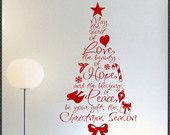 Vinyl Wall Lettering Set of 5 Christmas Ornaments Holiday Decal. $13.00, via Etsy.