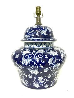 "Huge Antique Blue and White Porcelain Ginger Jar Table Lamp 43"" around 19"" H"