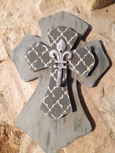 Gray and White Wall Cross on Etsy, $35.00
