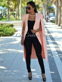 Anahi Peach Luxe Long Cape Jacket